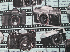CAMERA VINTAGE MOVIE STAR HOLLYWOOD CAMERAS BLUE COTTON FABRIC BTHY