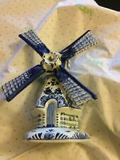 """EXC COND Delft Holland Blue/White Hand-Painted Windmill-Shaped Bedside Lamp 10""""T"""