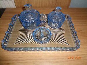 VINTAGE ART DECO BLUE GLASS 4 PIECE VANITY DRESSING TABLE SET BEAUTIFUL