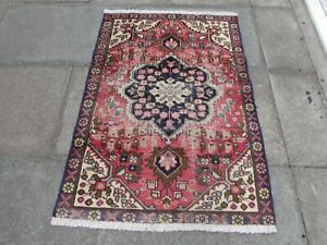 Shabby Chic Worn Vintage Hand Made Traditional Red Pink Wool Small Rug 138x96cm