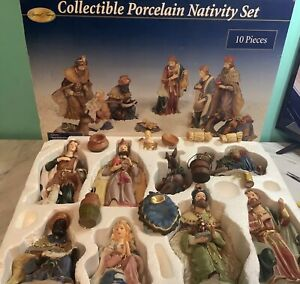 SPECIAL TIMES Porcelain Large Nativity Set 10 Piece ORIGINAL PACKAGING
