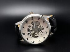 Geneva Automatic Skeleton Watch With Black Leather Waterproof Band
