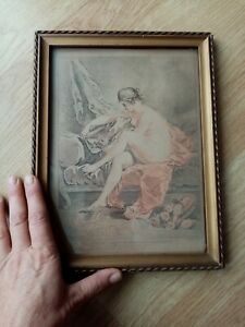 rare gravure 18éme xviiiéme DEMARTEAU francois BOUCHER FER privilège du roi roy