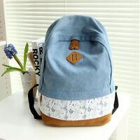 Vintage Womens Girls Backpack Shoulder Bag Schoolbag Denim Lace Travel Rucksack