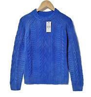 NWT Polo Ralph Lauren aran knitwear jumper sweater pure cotton Blue M RRP £229