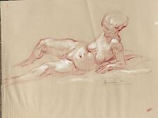 Harry Carmean colored pencil drawing of female model 1971