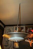 """1950's Mid Century Diner Pendant Ceiling Milk Glass & Aluminum Light Fixture 21"""""""