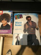Mens 70s Costume Disco  Fancy Dress 60s  with brown wig size M