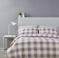 Christy Thurloe Check Lilac Double Duvet Set 100% Split Pack Warm and Cosy