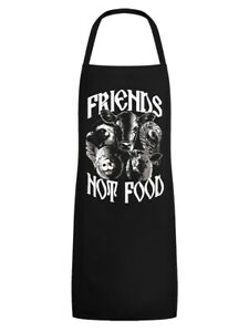 Apron Friends Not Food Vegan Vegetarian Black