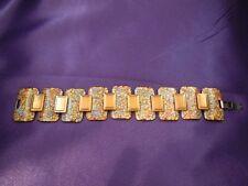 Early Matisse Renoir Enamel Panel Copper Bracelet Signed Designer Vintage