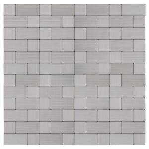 Peel and Stick Modern Rectangles Grey Metal Mosaic Tile Backsplash Wall MTO0214