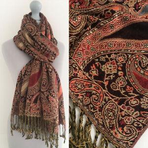 Ladies Black Paisley Scarf Pashmina Shawl Evening Wrap Long Multi Colour Vintage