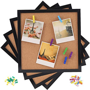 "Cork Bulletin Board 12""X 12"" Square Wall Tiles, Black Framed Corkboard 4 Pack, &"