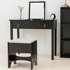 Vanity Makeup Dressing Table Set w/ Flip Top Mirror,Stool,2 Drawers Desk Black