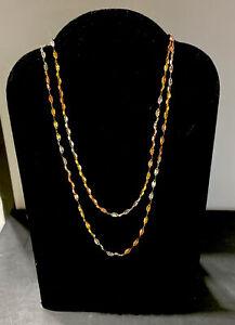 "Beautiful 10K Tri-Color Gold Diamond Cut 20"" Chain Necklace!"