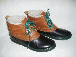 Women's ICE CASTLES Waterproof Suede/Rubber Duck Boots~Green/Tan~Size 9