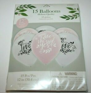 "Amscan 15 Balloons ""She Said Yes"" ""Love"" Pink White New NWT Helium 12"""