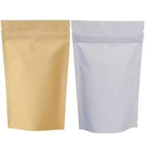 KRAFT PAPER BAG PACKETS STAND UP POUCH ZIP LOCK RESEALABLE HEAT SEAL BROWN WHITE