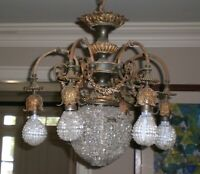 Antique  Art  Deco  Dore Ormolu  Bronze Crystal Chandelier    Neo Classic