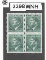 MNH Stamp block 1.60KR 1942 Third Reich / Adolph Hitler / WWII German Occupation