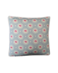 "16"" Vintage style Blue Rose White pompom trim scatter cushion covers sham"