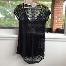 Zara Lace Black T Shirt Size Medium Great Condition