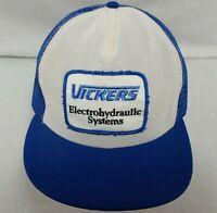 Vickers Snapback Trucker Hat Vintage Baseball Cap Big Patch Blue White Mesh Back
