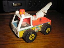 """Vintage RARE 4 3/4"""" long Fisher Price Little People Tow Truck"""
