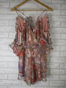 Bardot playsuit Cold shoulder sleeves Floral print Sz 12