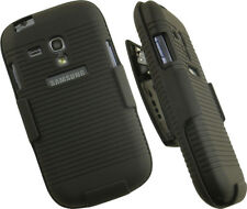 BLACK HARD CASE COVER BELT CLIP HOLSTER STAND FOR SAMSUNG GALAXY S3 MINI