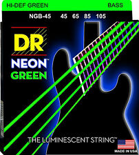 DR NGB-45 4 string Hi-Def Neon Green Coated Bass Guitar Strings 45-105 MED