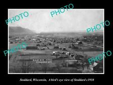 OLD POSTCARD SIZE PHOTO OF STODDARD WISCONSIN PANORAMA OF THE TOWN c1910