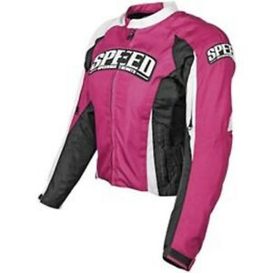 NOS SPEED AND STRENGTH 877254 THROTTLE BODY JACKET PINK WHITE SIZE WOMENS XL