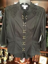 Contrast Black Embellished Lace Fitted Three-Quarter Sleeve Top, Size Medium