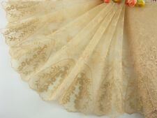 "9""*1yard delicate beige embroidered flower tulle lace trim DIY 0396"