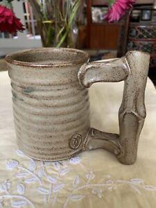 HANDMADE Signed Stamped Art Pottery Stoneware Coffee Mug Cup 12oz