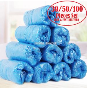 Disposable BLUE Plastic Over Shoes 30/50/100 Shoe Boot Covers Carpet Protectors