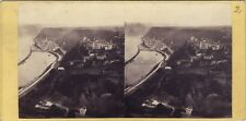 St Goar Rheinfels Allemagne Bord du Rhine Photo Stereo Vintage albumine ca 1865
