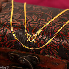 Hot Pure Solid 999 24K Yellow Gold Chain Women Curb Link Necklace 16.5inch