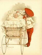 Child with Baby in Baby Carraige  -  by Maud Humphrey - Antique Print - 1898