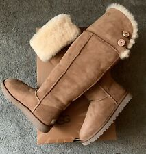 NEW UGG OVER THE KNEE BAILEY BUTTON SHEEPSKIN BOOTS CHESTNUT 7 See Description