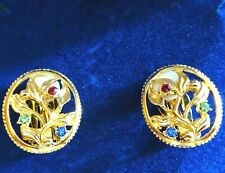 Camrose Kross Jacqueline Kennedy Simulated Gemstone Floral Clip On Earrings