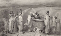 Greek Mythology, DANAIDES 50 PRETTY GIRLS DAUGHTERS ~ Old 1878 Art Print Gravure
