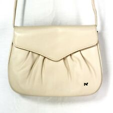 Nina Ricci Paris Genuine Leather Cream Color Saddle Bag Crossbody Purse Clutch
