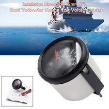 """52mm 2"""" 16-32V Boat Marine Voltmeter Gauge Volt Voltage Meter 316L Black Bezel"""