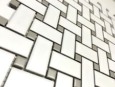 White and Gray Basketweave Porcelain Mosaic, Floor Wall Backsplash Kitchen Bath