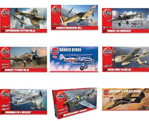Airfix 1/72 Model Kits WW2 Military Aircraft Spitfire Hurricane Typhoon