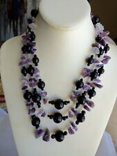 BEAUTIFUL REAL AMETHYST ONYX BEADS NECKLACE