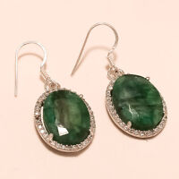 Natural African Emerald Gemstone 925 Sterling Silver Earring Women Fine Jewelry